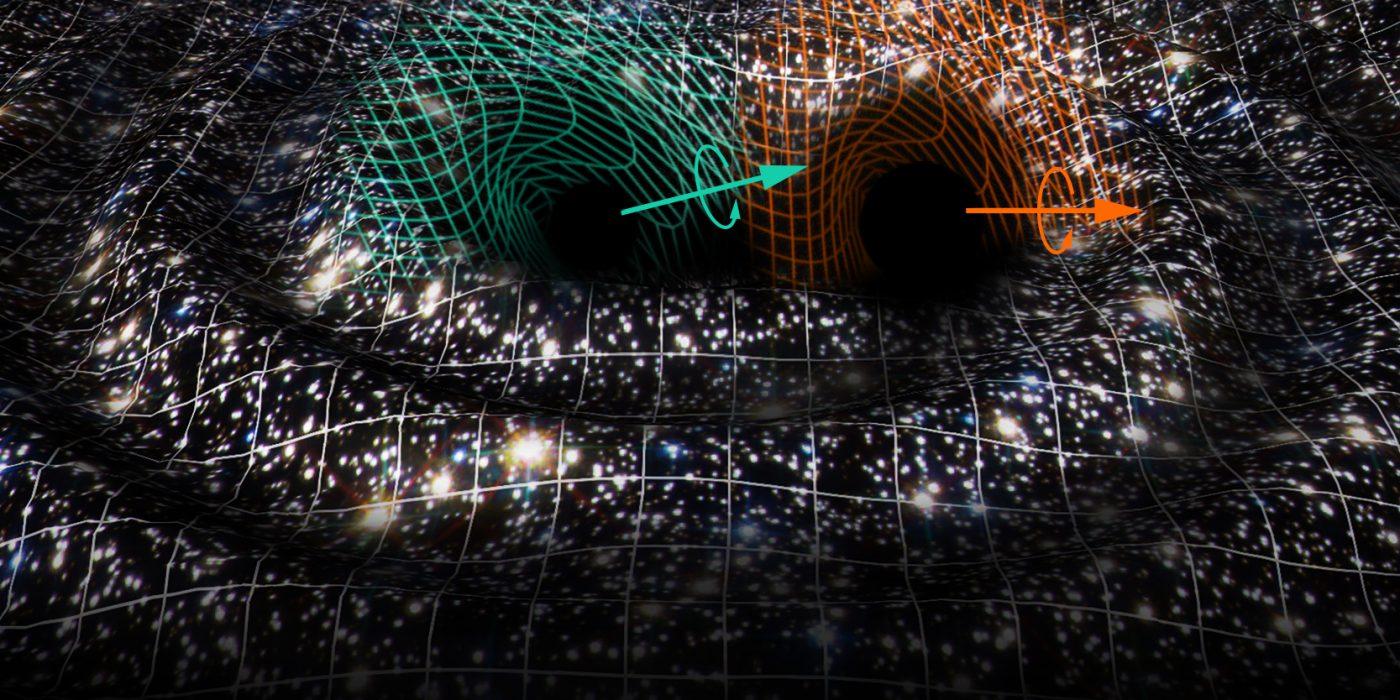 colision-agujeros-negros-universo-ilustracion-ondas-gravitacionales