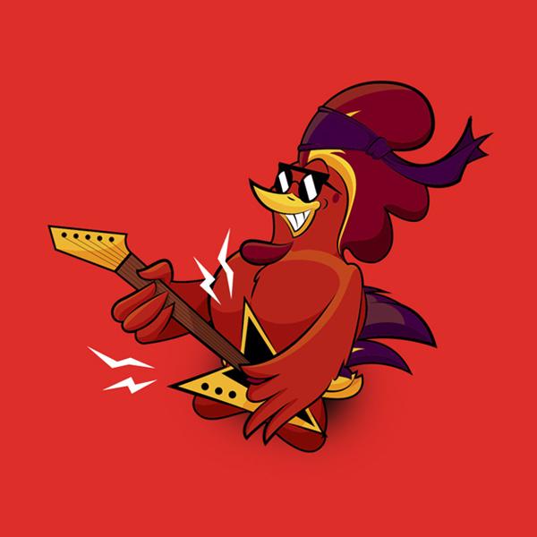 Gallo rojo con gafas de sol rockero con guitarra