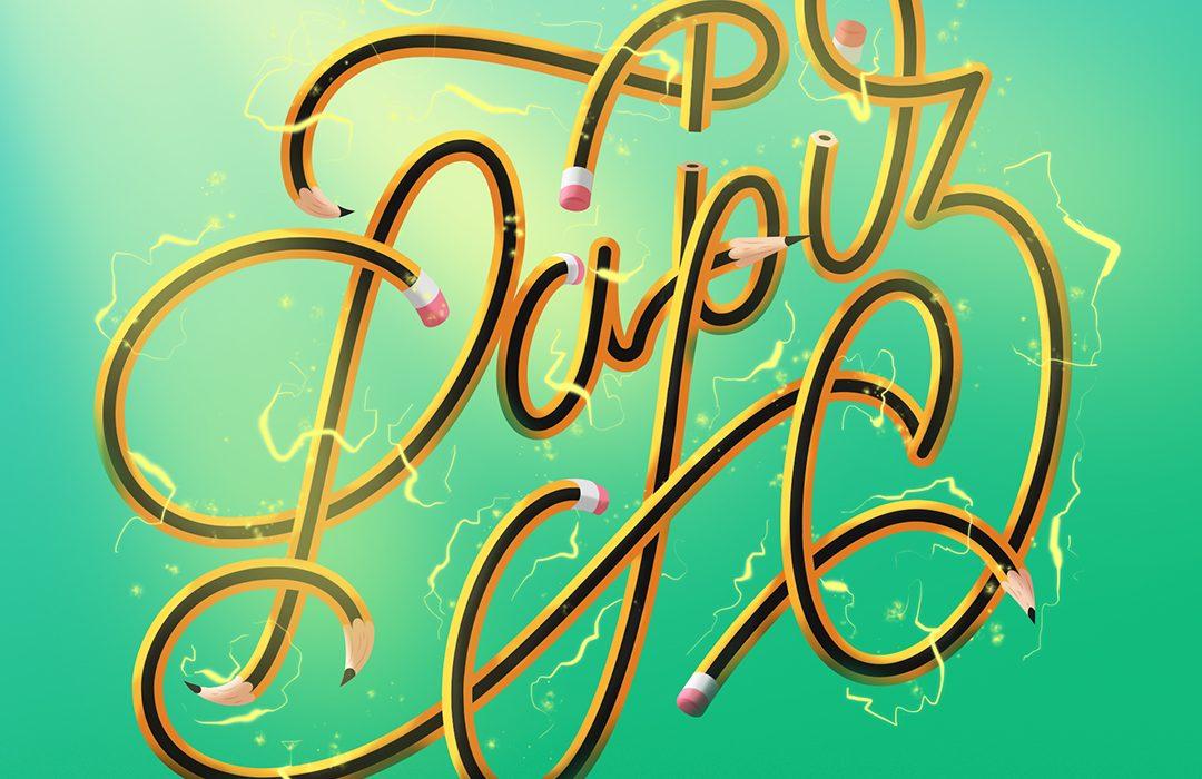 Lettering palabra lápiz ilustracion