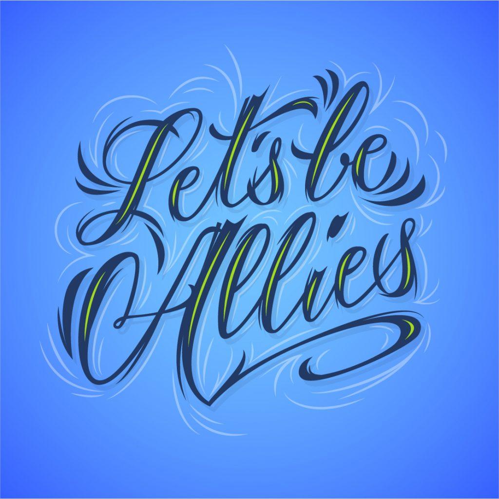 Lettering de estilo moderno y dinámico en tonos azules
